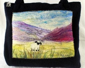 Handmade felted work bag (lonely sheep), tote , knitting bag, large bag