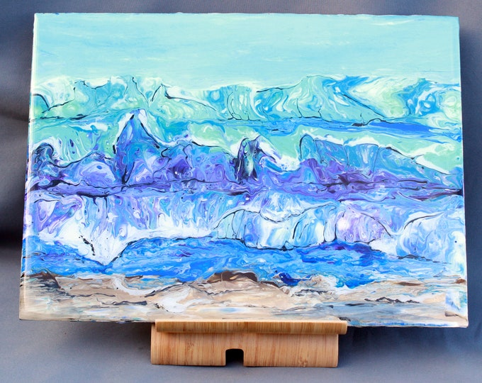 Hand-made Place-Mat, original hand-painted, Acrylic Pour, heat-resistant (PM4)
