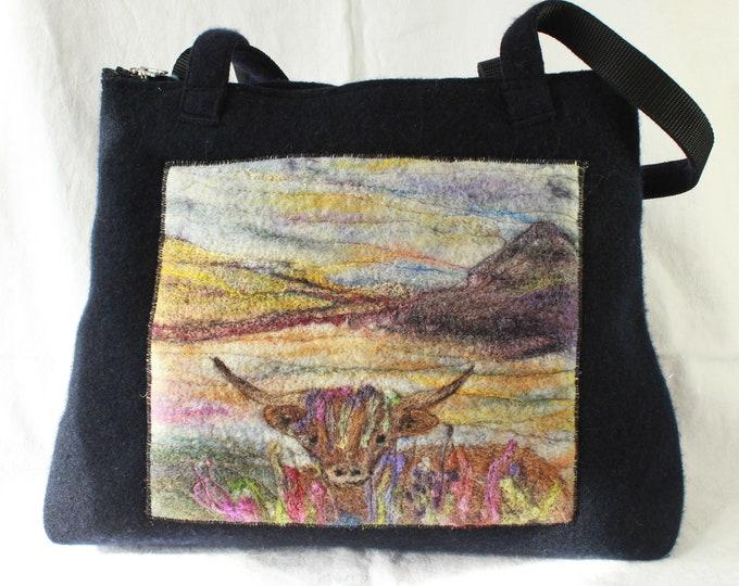 Large handmade felted work bag (highland cow)