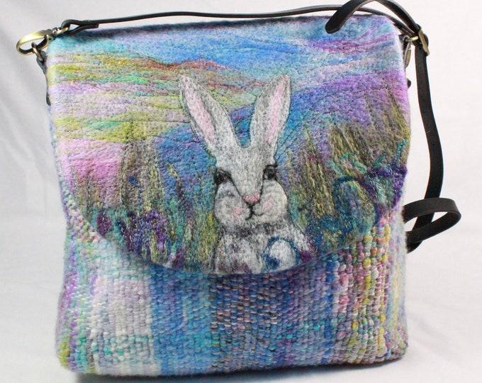 Handmade felted, hand-woven shoulder bag (rabbit)