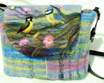 Large handmade felted, hand-woven shoulder bag, tote bag
