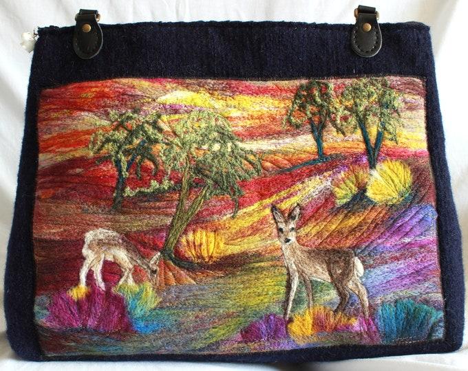 Large handmade felted bag (Two Deer)