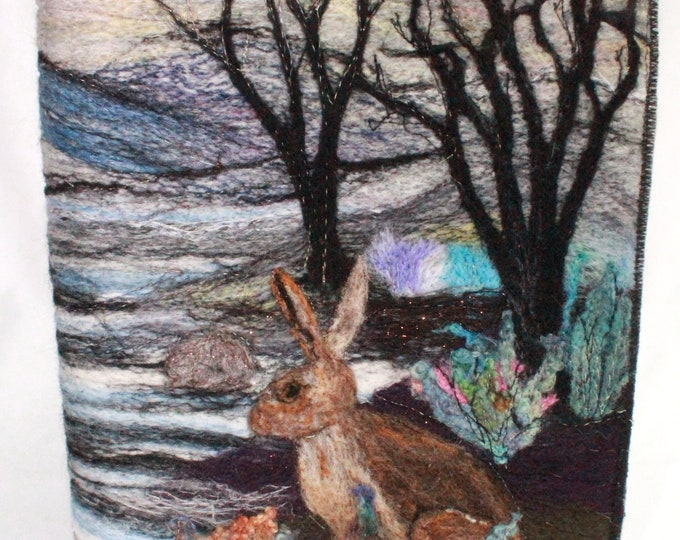 Needle Felted Covered A5 Book (Hare in the woods)