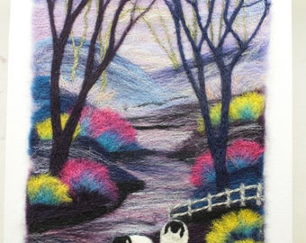 Needle felted Picture on a 3D Canvas (Frosty Morning), hand made picture.