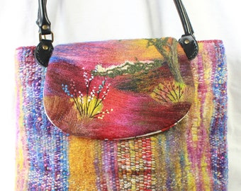 Large handmade felted, hand-woven shoulder bag