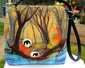 Handmade felted, hand-woven shoulder bag (wshb5)