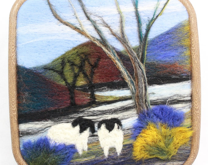 Needle felting kit, Quick Kit (Sheep by the River)