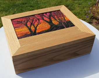 Oak Jewellery Box (Box5) with Needle-Felted Inlay