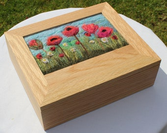 Oak Jewellery Box (Box1) with Needle-Felted Inlay