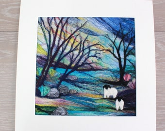 Large Needle-felted Picture (lpic4) , hand made picture.