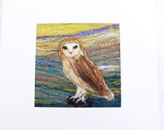 Needle felted Picture (fsmpic13, owl), hand made picture.
