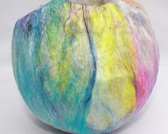 Tealight Holder (TLH8) with hand felted fibres