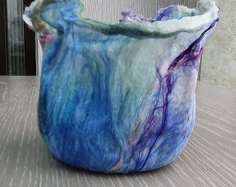 Tealight Holder (TLH3) with hand felted fibres
