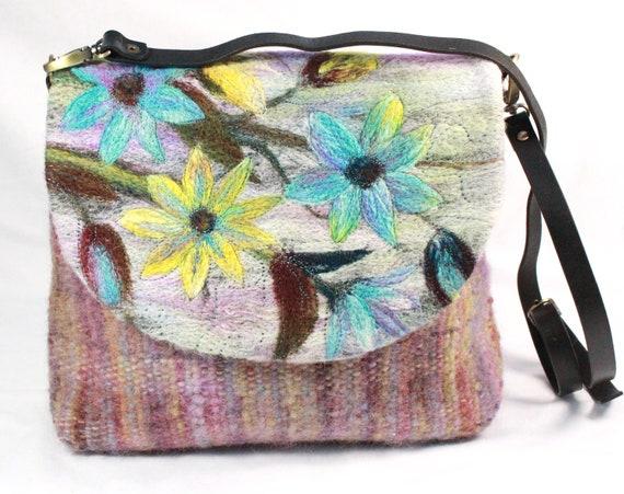 Handmade felted, hand-woven shoulder bag