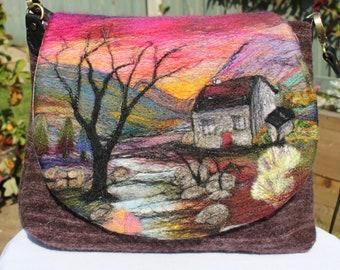 Handmade felted shoulder bag (eshb7)