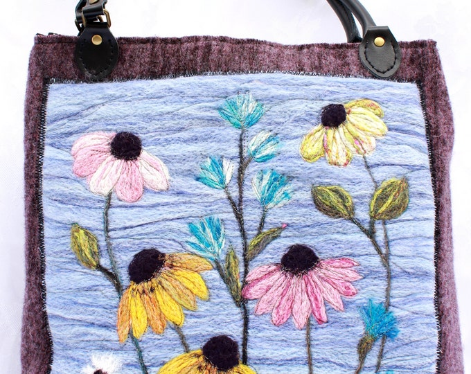 Large handmade felted bag (lemb2 Flowers)