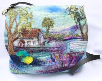 Handmade felted, hand-woven shoulder bag (wshb4)