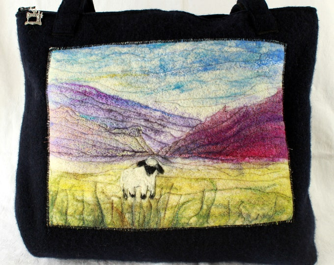 Large handmade felted work bag (cb7 lonely sheep)