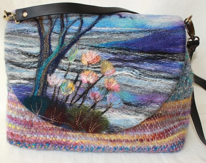 Handmade felted, hand-woven shoulder bag (wshb1)