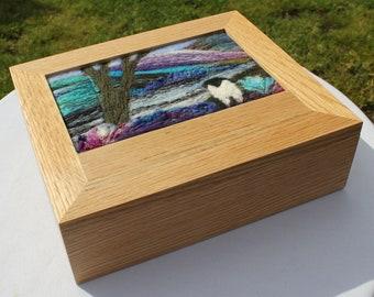 Oak Jewellery Box (Box3) with Needle-Felted Inlay