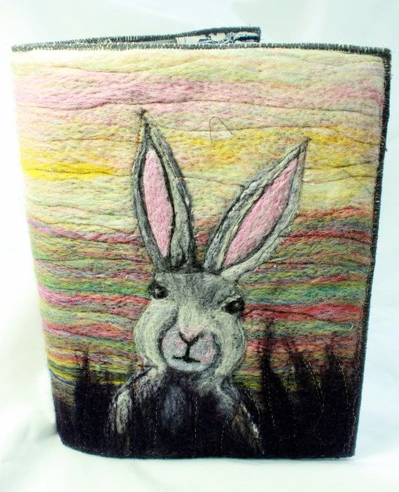 Needle Felted Covered A5 Book (Hare)