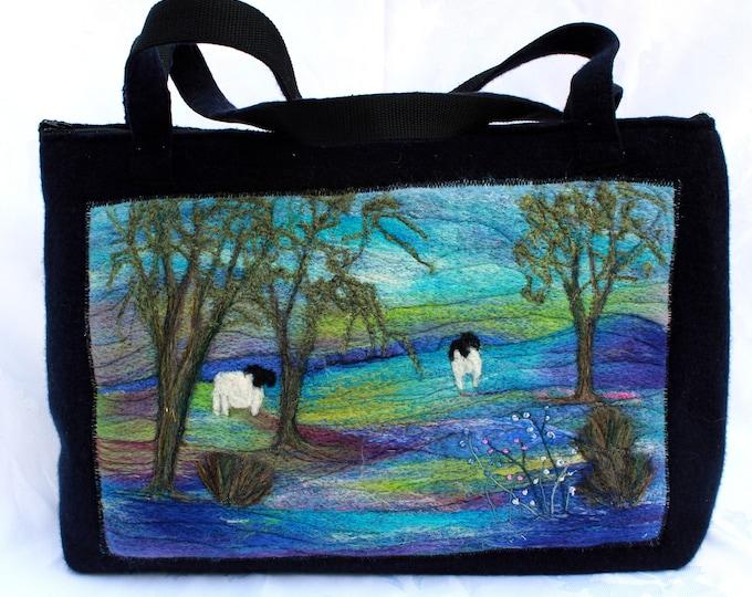 Large, handmade felted work bag