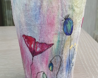 Tealight Holder (TLH2) with hand felted fibres