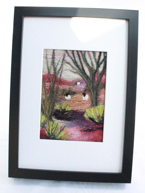 Needle felted Picture in a Deep Edge Frame (owl)