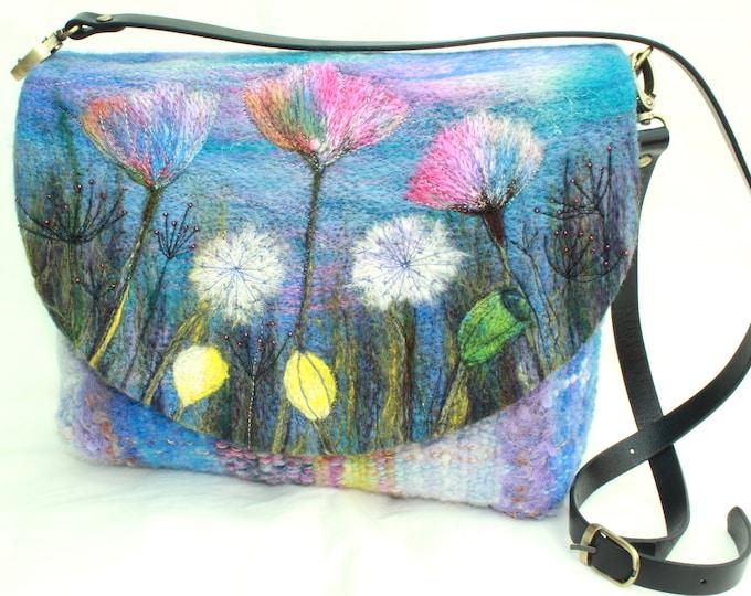 Handmade felted, hand-woven shoulder bag (wshb2)