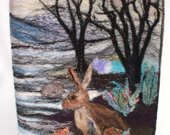 Needle Felted Covered A5 Book (covb 2 Hare in the woods)