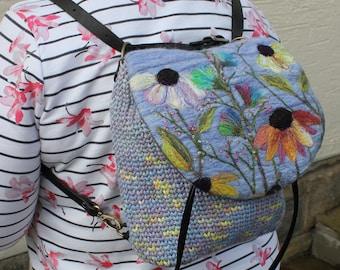 Handmade crocheted & felted Convertible Bag (ConBag1)