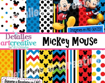 Mickey Mouse Kit papers & Clipart free