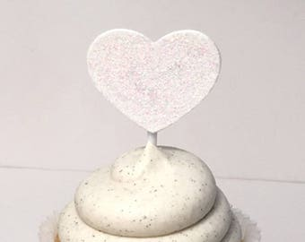 white glitter heart paper cupcake topper