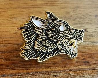 Grim Hound, Wolf Enamel Lapel Pin | High Polish, Enamel & Gold Plated