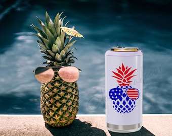 Pineapple Patriotic Skinny Can Cooler Truly Hard Slim Sparkling Seltzer Pool Beach Vacation Gift Lake Motorboatin' Pontoon Tritoon July 4th