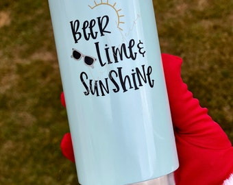 NEW Beer, Lime and Sunshine Skinny Can Cooler Truly Hard Slim Sparkling Seltzer Bachelorette Pool Beach Vacation Gift Lake