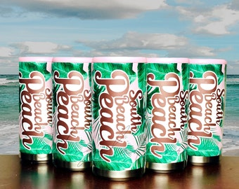 NEW!  South Beach Peach **Tropical Print** Skinny Can Cooler Hard Slim Sparkling Seltzer Pool Beach Vacation Gift Lake