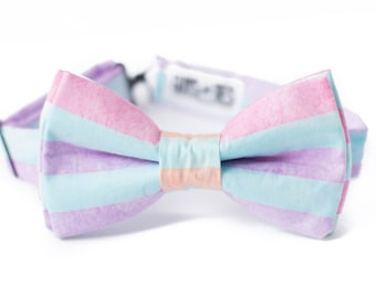 d98febd894c7 striped pastel bow tie for kids, pink blue lilac orange boys pre tied bow  tie, toddler batik stripes bowties, baby boy colorful bowtie