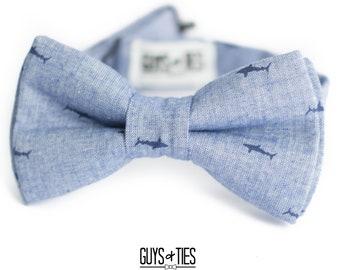 6dec377c6230 baby shark bow tie, boys doo doo shark bowtie, navy sharks on blue chambray  bowties, kids nautical bow ties, baby shark cake smash outfit