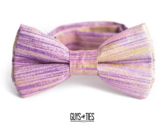 5199439fbdf7 boys purple and gold bow tie, lilac ring bearer bowties, pre tied pastel  bowties for kids, lavender toddler bowties, purple dog bowtie