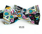 sugar skull bow tie, Dia de los Muertos bowtie, Cinco de Mayo bowties, day of the dead, Mexican bowties, colorful skulls and flowers bow tie