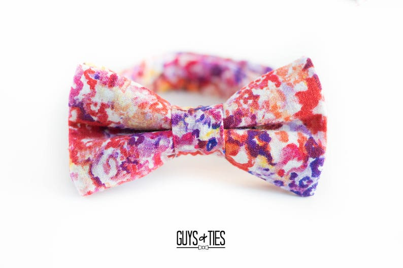 4a6af1b62831 Bright floral bow tie mens red orange and purple floral   Etsy