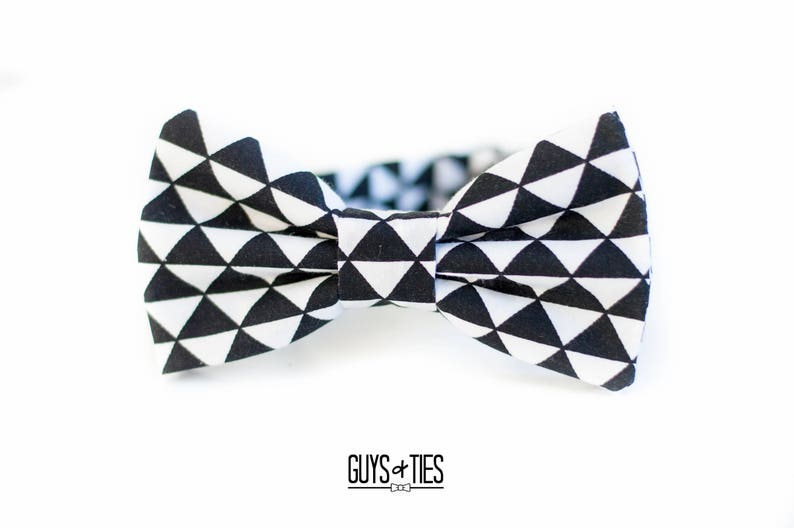 59709263686a Black white bow tie triangle bow tie unique geometric black | Etsy