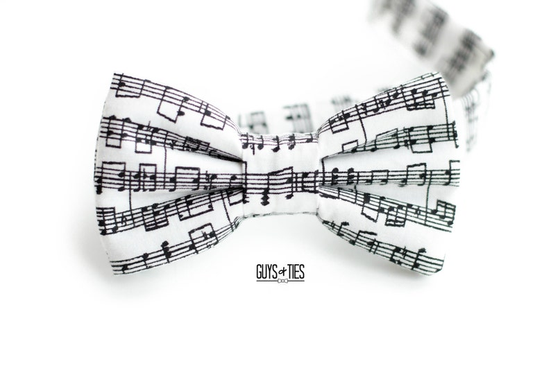 Suspender and Bow Tie Adults Men Black White Music Notes Formal Wear Accessories