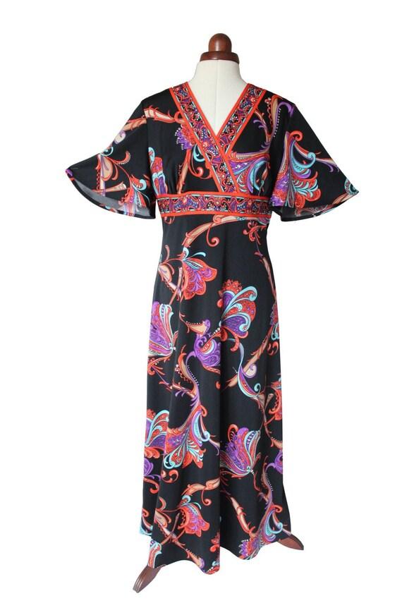 Ladies Vintage 1960s 1970s Hippy Boho Maxi Dress