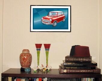 "1964 Mini Cooper 11""w x 17""h Print"