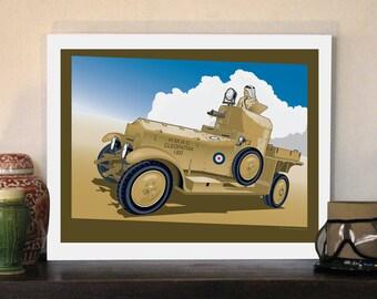 "1920 British Army Desert Rolls Royce 20""w x 16""h Giclee"
