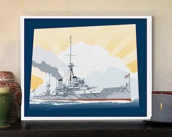 "HMS Dreadnought Great War 20""w x 16""h Giclee"