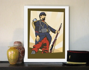 """1914 French Poilu Soldier 16""""w x 20""""h Giclee"""