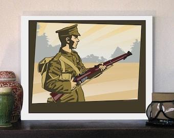 """1914 British Tommy Soldier 20""""w x 16""""h Giclee"""